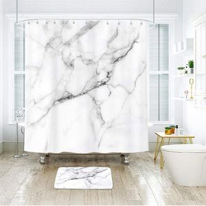 Other - Marble Shower Curtain Surface Cracked Lines Hooks